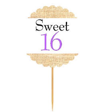 Sweet 16 Lavendar  Rustic Burlap Birthday Cupcake Decoration Topper Food Picks