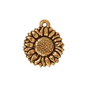 22K Gold Plated Pewter 2-Side Sunflower Charm 15mm (1)