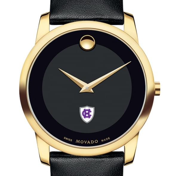 Holy Cross Men's Movado Gold Museum Classic Leather by Movado