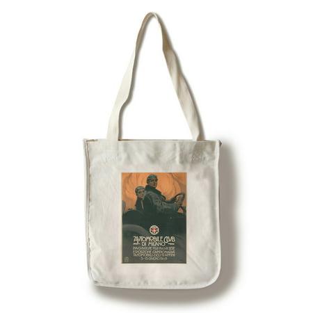 (Automobile Club de Milano Vintage Poster (artist: Metlicovitz) Italy c. 1909 (100% Cotton Tote Bag - Reusable))