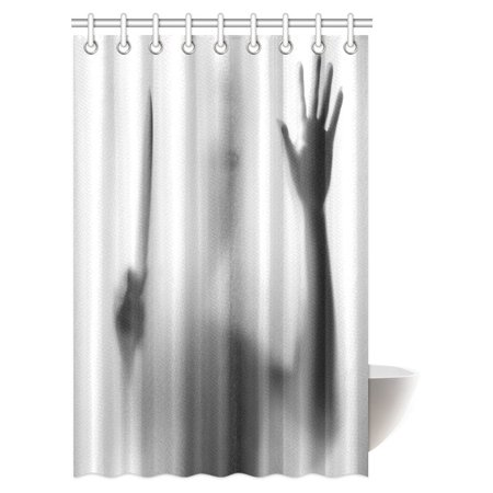 MYPOP Halloween Horror Decor Shower Curtain, Dangerous Man Behind the Frosted Glass with a Knife on His Hand Bathroom Shower Curtain Set with Hooks, 48 X 72 Inches](Halloween Bathroom Decor Ideas)