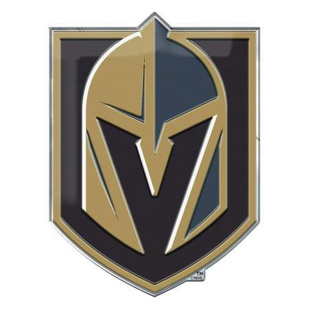 Die Struck Emblem (Vegas Golden Knights Auto Emblem Color, Premium Raised Metal (Aluminum) Die Cut Color Auto Emblem By Team)