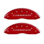 MGP 4 Caliper Covers Engraved Front & Rear Block/Charger Red finish silver ch