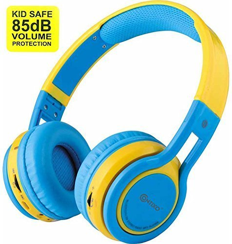 Bluetooth Headphones Wireless, Contixo Blue-yellow Wireless Headphones Bluetooth