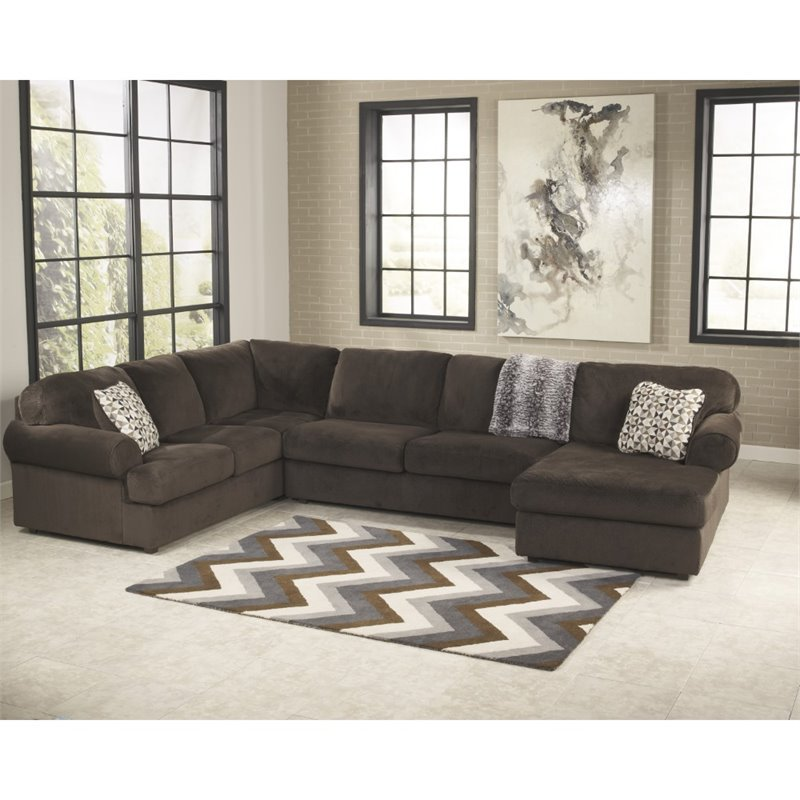 Flash Furniture Jessa Fabric Left Facing Sectional in Chocolate by Flash Furniture