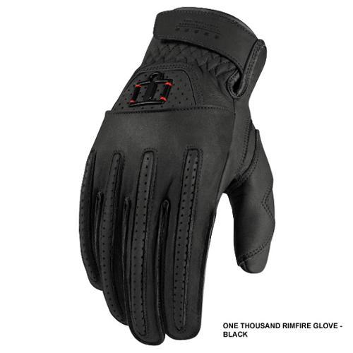 Icon 1000 Rimfire Leather Street Gloves Black