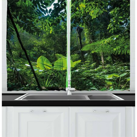 Plant Curtains 2 Panels Set, Green Jungle Untouched Nature Environmental Concerns Flora Fauna Jungle Rainforest, Window Drapes for Living Room Bedroom, 55W X 39L Inches, Forest Green, by Ambesonne