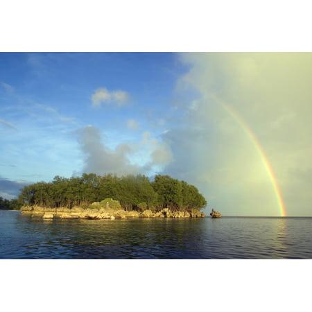 Micronesia Palua Rainstorm Approaches A Small Island Rainbow Overhead Canvas Art - Dave Fleetham Design Pics (17 x 11)