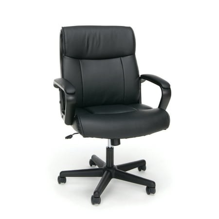 OFM Essentials Collection Bonded Leather Executive Office Chair with Arms, in Black (Army Office)