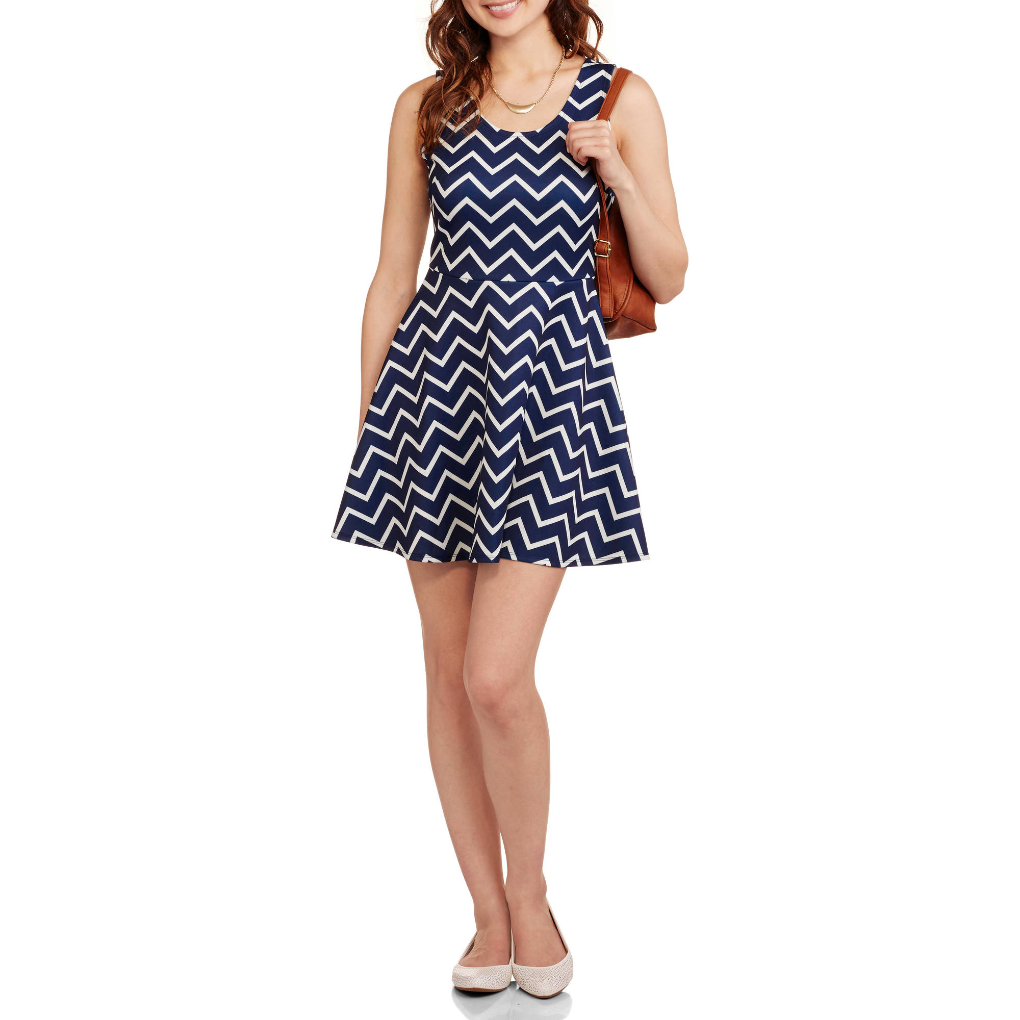 No Boundaries Juniors Double Scoop Fit and Flare Dress