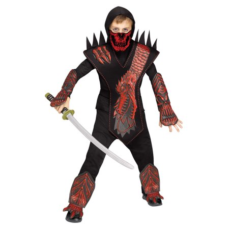 Dragon Ninja Halloween Costume (Fun World Skull Dragon Ninja Halloween 6pc Boy)