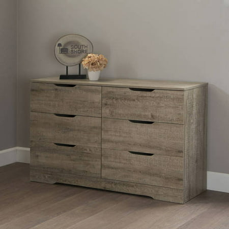 South Shore Holland 6-Drawer Double Dresser, Weathered Oak