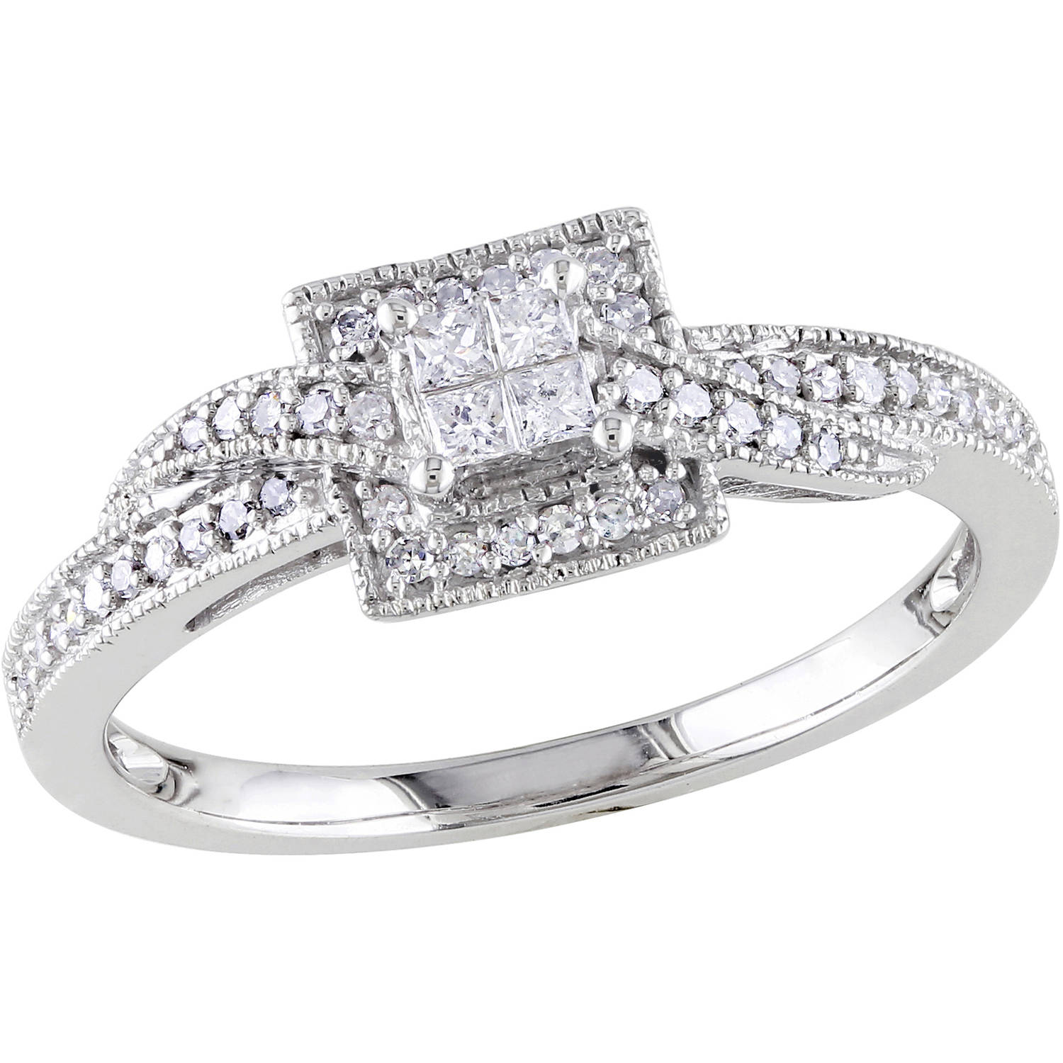 1/4 Carat T.W. Princess and Round-Cut Diamond 10kt White Gold Cross-Over Engagement Ring