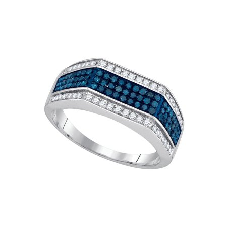 10kt White Gold Mens Round Blue Colored Diamond Triple Stripe Flat Surface Band 3/4 Cttw