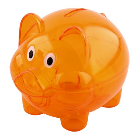 Home Plastic Pig Shape Money Saving Holder Coin Storage Pot Piggy Bank Orange](Large Plastic Piggy Banks)