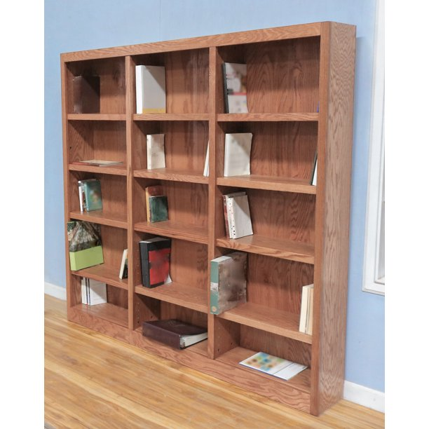 Concepts in Wood 15 Shelf Triple Wide Wood Bookcase, 72 inch Tall