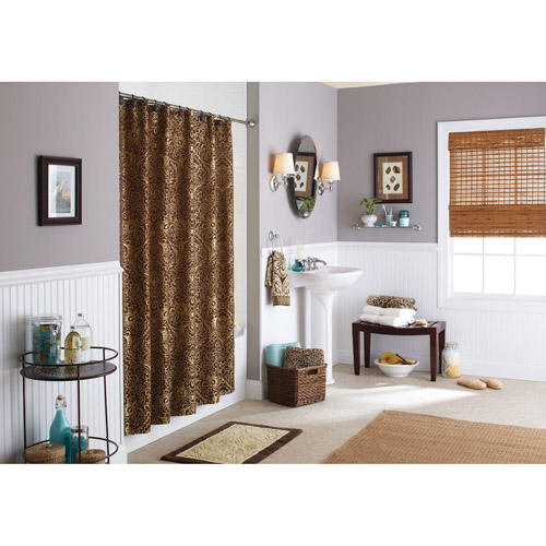 Better Homes And Gardens Shower Curtain, Butter Pecan/Costa Brown Floral  Damask