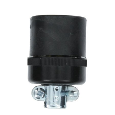 Leviton 7506-C 15-Amp-125-Volt, 2-Pole, 2-Wire, Connector, Locking Blade, Industrial Grade, Non-Grounding, Black-White