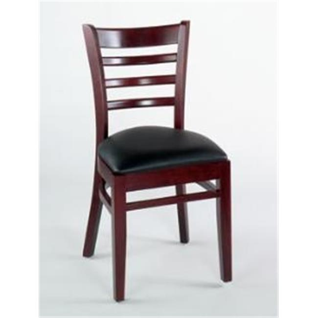 Alston Quality 1105-UP-M-Forest Ladder Back Side Chair With Upholstered Seat Mahogany Frame