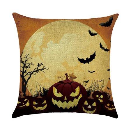 Happy Halloween L (JuDan Happy Halloween Pillow Cases Linen Sofa Cushion Cover Home Decor)