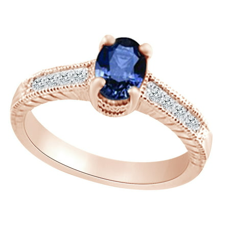 (1.23ct) Simulated Blue Sapphire & White Diamond Vintage Style Engagement Ring In 14k Solid Gold With Ring Size 13.5