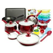Tasty 24 Piece Titanium Ceramic Non-Stick Cookware Set, Dishwasher Safe, Red