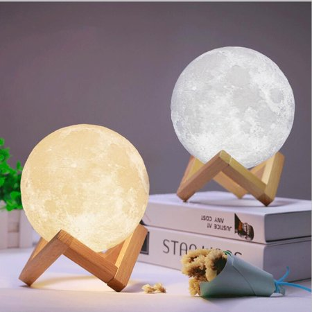- 3D Printed Moon Lamp Decorative Lights - 6 Inch LED Baby Night Light USB Charging Dimmable Color Changing, Touch Sensor Battery Operated LED Table Lamps Bedside Lamp for Bedrooms
