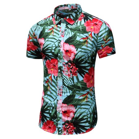 Tailored Men's Summer New Fashion Business Leisure Short-sleeved Plus Size Printing Shirt