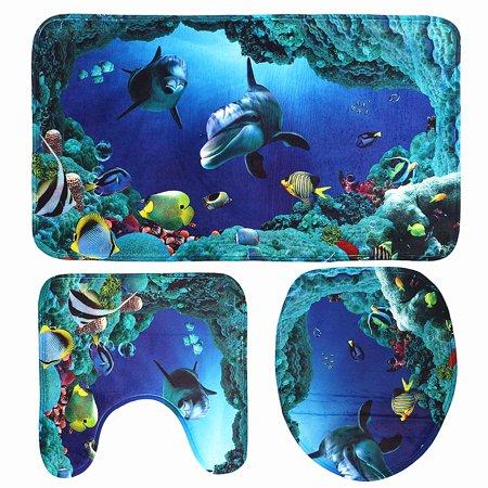 Bath Rug Sets - 3 Piece Home Bath Non-Slip Mat Set Bathroom Pedestal Rug Deep Sea Dolphin Soft Toilet Cover Mat Blue