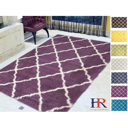 Handcraft Rugs - Shaggy Rug Trellis Moroccan Diamond Pattern Purple and White Soft and plush shag area rug (Approximately 8 ft. by 10 ft.) ()