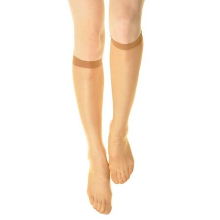 Angelina 15D Sheer Nylon Knee-High Socks (6-Pack)