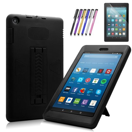 Fire HD 8 2017 Case, Mignova Heavy Duty Hybrid Protective Case Build In Kickstand For All-New Fire HD 8 Tablet 7th Generation 2017 Release + Screen Protector Film and Stylus Pen (Black / Black) - Film Halloween 2017 Online