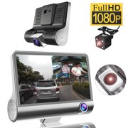 "4.0"" Full HD 1920*1080P Car Dashboard Camera 170 Night Vision Three 3 Lens Front Rear DVR Recorder Parking Camcorder with G-Sensor, WDR, Motion Detection Wide Angle"