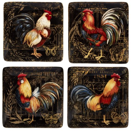 Gilded Rooster Set/4 Canape Plate 6