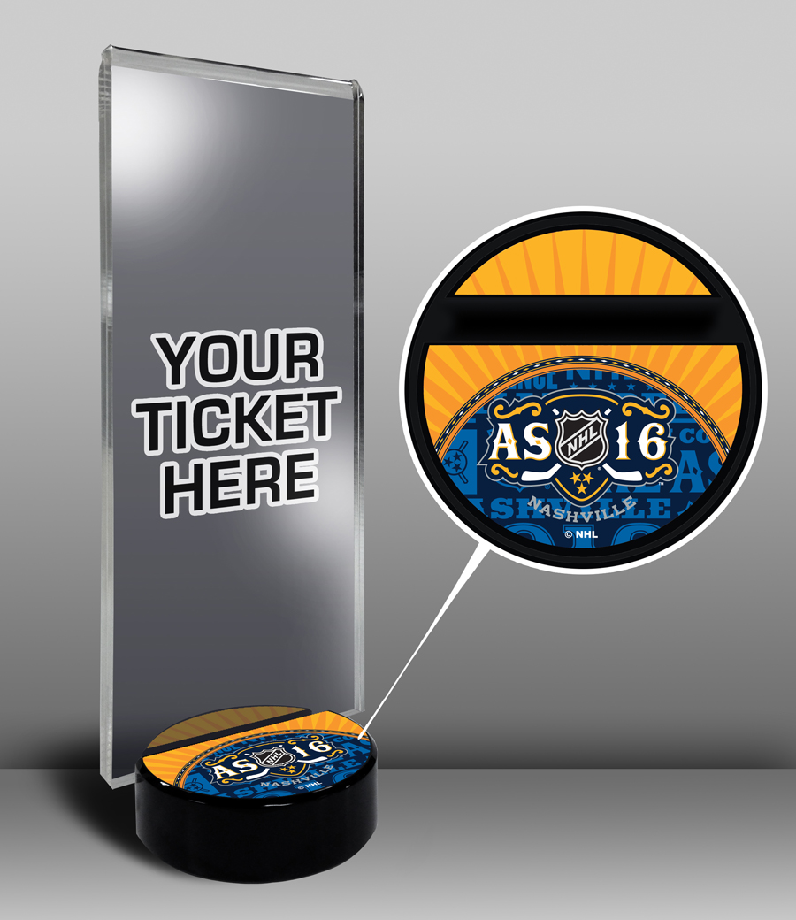 2016 NHL All-Star Game Hockey Puck Base Ticket Display Stand Nashville Predators by