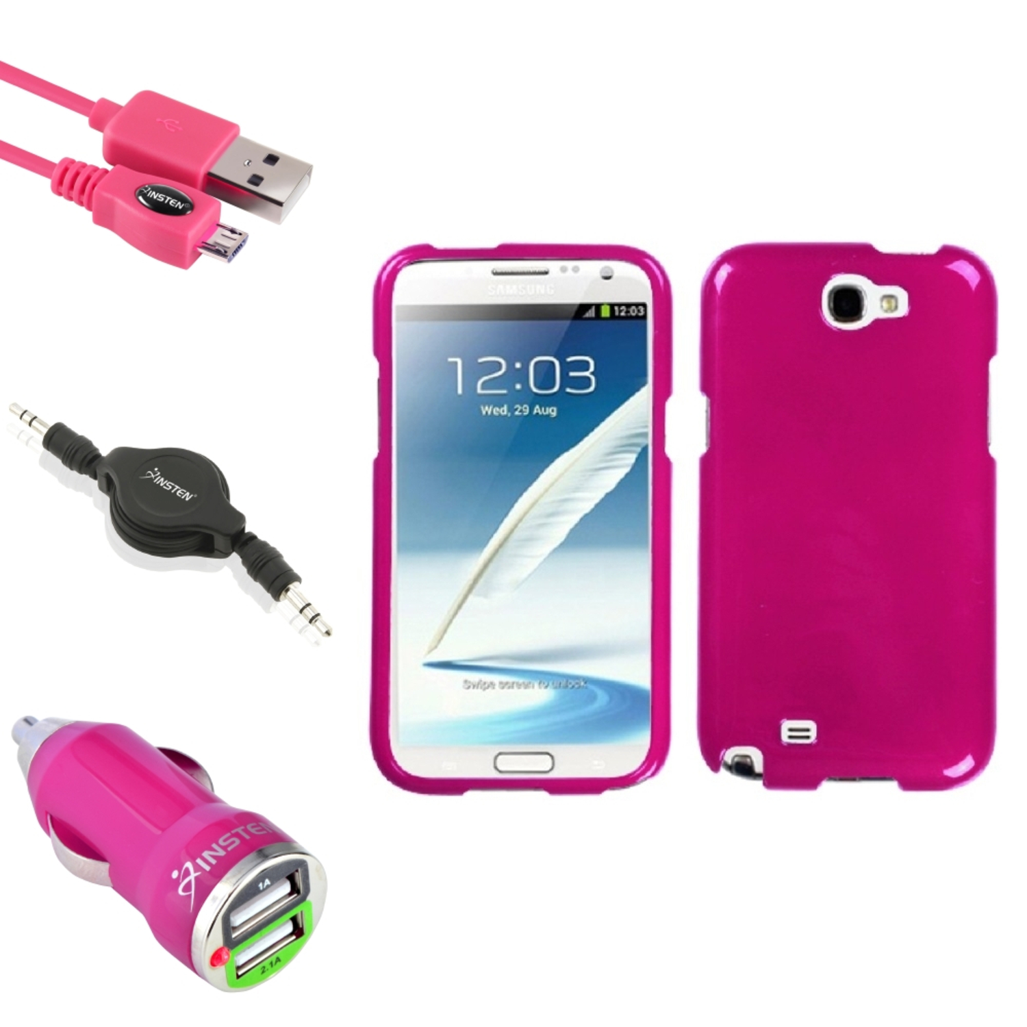 Insten Solid Hot Pink Hard Case USB Charger Audio Cable For Samsung Galaxy Note 2 II