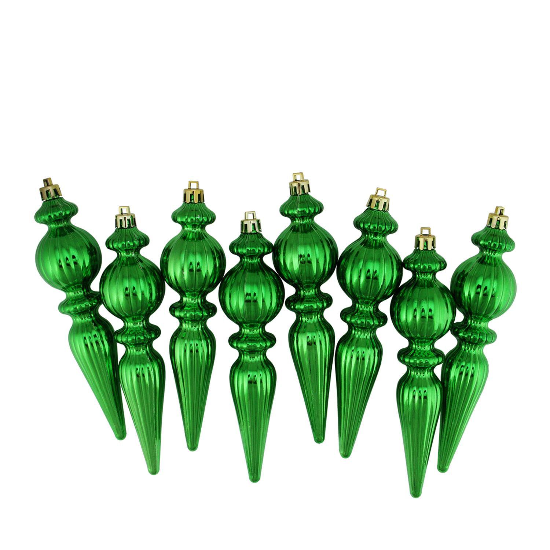 "8ct Xmas Green Shatterproof Shiny Ribbed Christmas Finial Ornaments 6.5"""