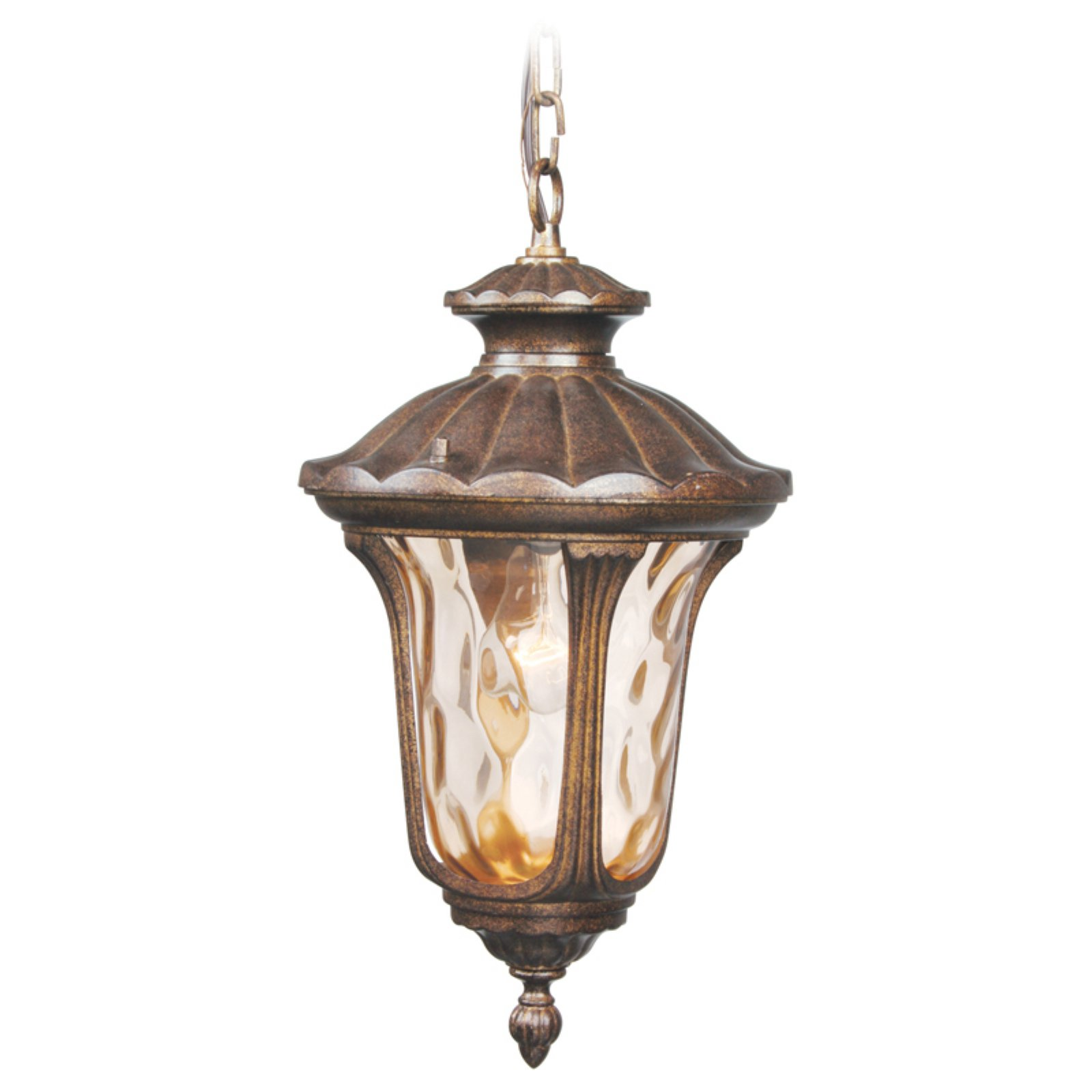 Livex Oxford 7654-50 Outdoor Hanging Lantern - 9.5Dia x 17.5H in. Moroccan Gold