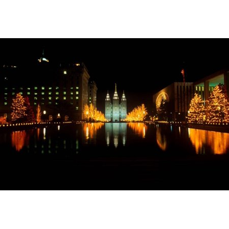 Historic Temple and Square in Salt Lake City at night, during 2002 Winter Olympics, UT Print Wall Art](Costume Shops In Salt Lake City)