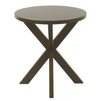 HomePop Round Wood Accent Table - Dark Walnut