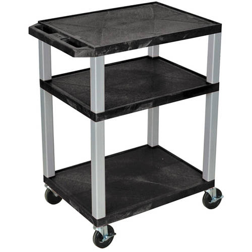 H. Wilson Tuffy 3-Shelf A/V Cart with Electric, Black Shelves and Nickel Legs