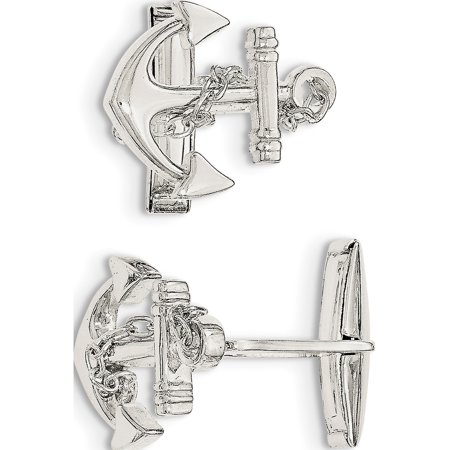 925 Sterling Silver Anchor with dangle rope Cuff Links - image 2 of 2