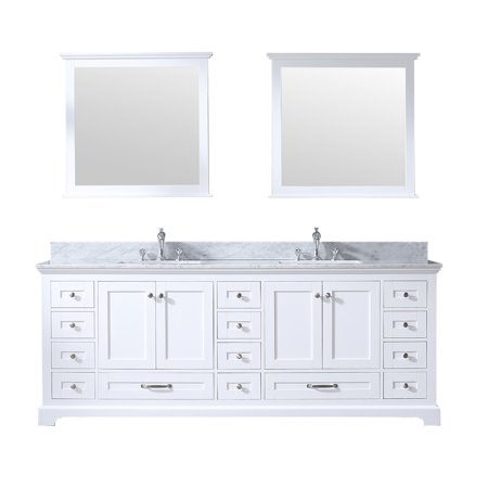 84 Double Vanity White Carrera Marble Top White Square Sinks And