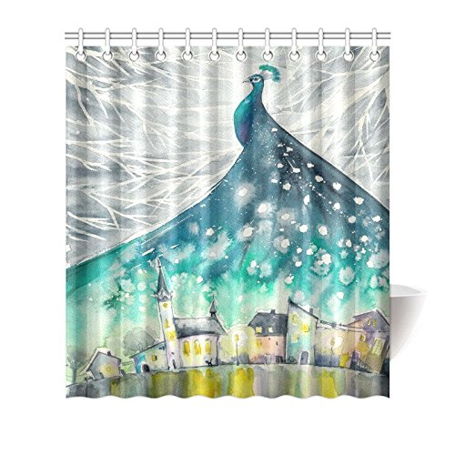 GCKG Watercolor Peacock Feather Shower Curtain Hooks 66x72 Inches Blue Green Turquoise Fabric In Christmas Winter Night Snow Sky Castles