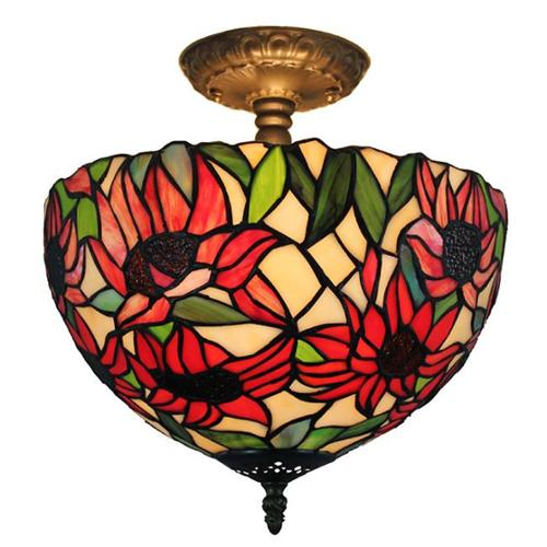 Amora Lighting Tiffany Style Sunflower Ceiling Lamp by Overstock