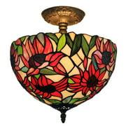 Amora Lighting  Tiffany Style Sunflower Ceiling Lamp