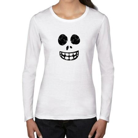 Fun Skeleton Ghost Face Smiling - Happy Women's Long Sleeve (Long Faced Women)