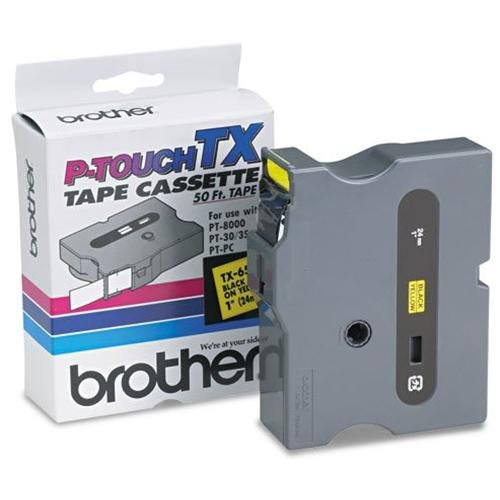 Brother International Tx6511 Genuine Brother Brand Ptouch Tx6511 1inch Black On Yellow Supplies For Brother