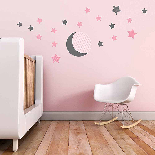 Moon and Stars Fabric Wall Decals