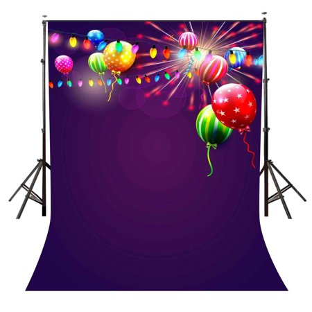 MOHome Polyester Fabric 5x7ft Violet Halo Backdrop Colorful Flying Balloons Colorful String Lights Photography Backdrop for Photo Video Studio Props